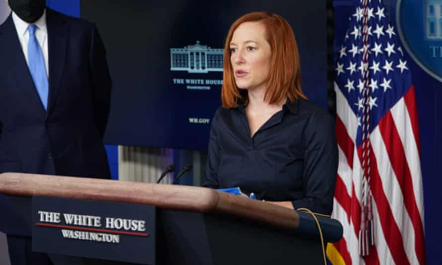 White House press secretary Jen Psaki speaks at a briefing on climate policy on 27 January 2021.