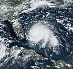 NOAA satellite image taken by the GOES-16 satellite showing Hurricane Dorian as it passes the Bahamas in the Atlantic Ocean.