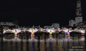 Jeremy Deller's Day Glow Bridge (Southwark Bridge) for Adjaye Associates, one of the shortlisted proposals