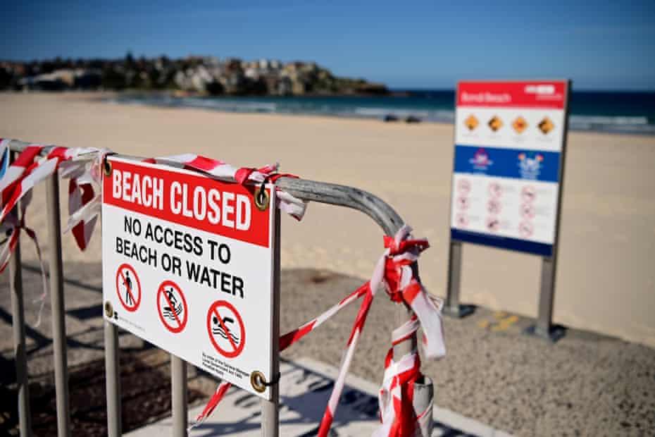 Signage at a closed Bondi Beach in Sydney