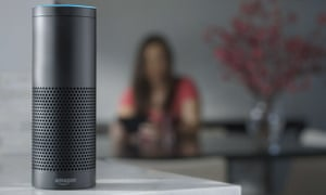 This product image provided by Amazon shows the Amazon Echo speaker. The biggest feature in Amazon's Echo speaker is a voice-recognition system called Alexa that is designed to control Pandora, Amazon Music and Prime Music services as well as give information on news, weather and traffic. (Amazon via AP)