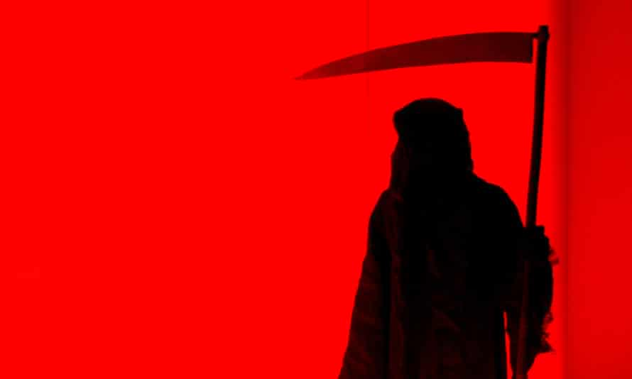 A silhouette of The Grim Reaper against a red backdrop.