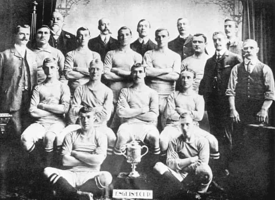 Manchester City's 1904 FA Cup winning team line up with club officials: (Back row, from left) J. Parlby, CH Waterhouse, E Hulton (Chairman), JE Chapman, G Madders. (second row) Tom Maley (secretary and manager), Jack Hillman, George Livingstone, Johnny McMahon, Tommy Hynd, Billy Gillespie, LW Furness and J Broad (trainer). (third row) Frank Booth, Sammy Frost, Billy Meredith (captain) and Sam Ashworth. (front row) Sandy Turnbull and Herbert Burgess.