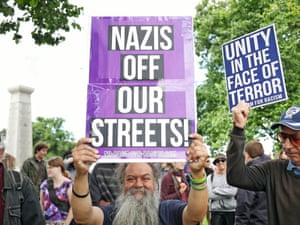 Anti-Nazi protesters at the United Patriots Front rally in Melton, Victoria.