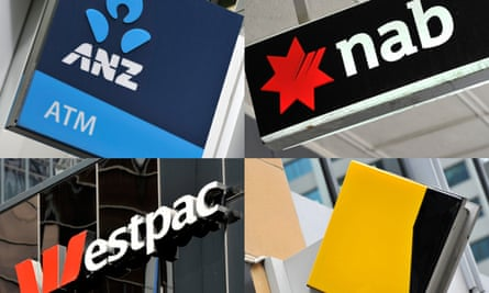 A composite image of signage of Australia's big-four banks