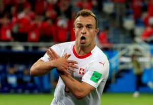 The celebration against Serbia that landed Shaqiri in trouble at the World Cup.