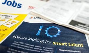 Job vacancies in newspapers.