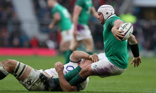 Rory Best is tackled by Chris Robshaw of England during Ireland's grand slam sealing victory at Twickenham.