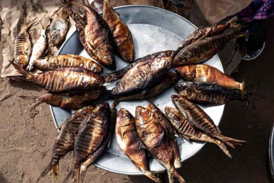 Smoked fish at Tanji fish market