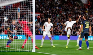 England's Raheem Sterling heads England level during an excellent display against Kosovo in the Euro 20202 qualifying win.