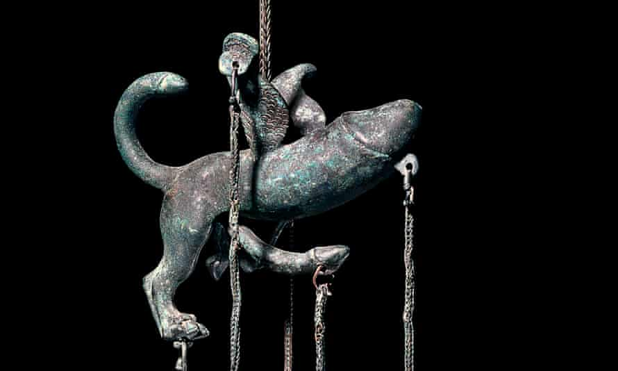 A Roman winged-lion phallus tintinabulum, the chains supporting small bells to function as a wind chime and intended to bring good luck.