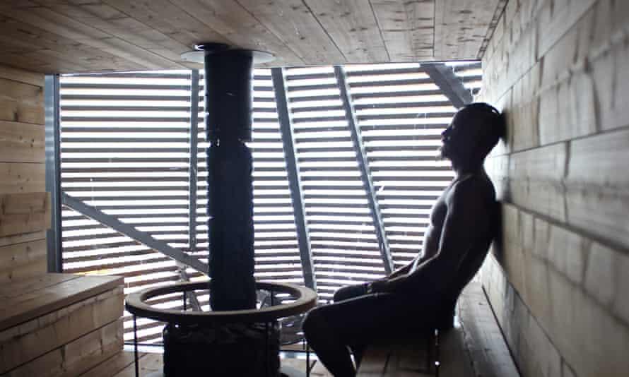 Man in Finnish sauna