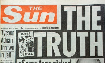 The Sun's headline on its Hillsborough front page.