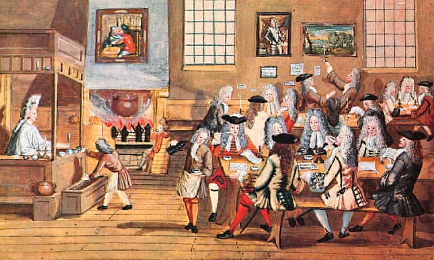 A painting of the Restoration Coffee House in London from 1668.