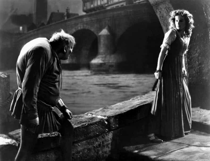 Charles Laughton and Maureen O'Hara in The Hunchback of Notre Dame.