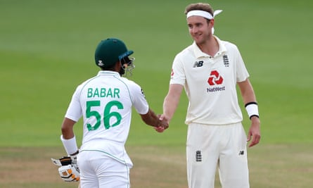 Stuart Broad pictured shaking hands with Pakistan's Babar Azam