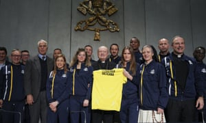 Godspeed: members of Vatican Athletics join in the club's launch.