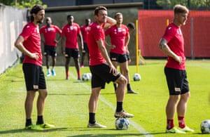 Neben Subotic, left, and Christian Gentner, centre, during a training session.