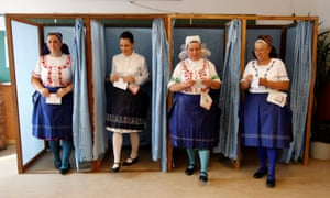 Hungarians in Veresegyház vote on a referendum about EU migrants.