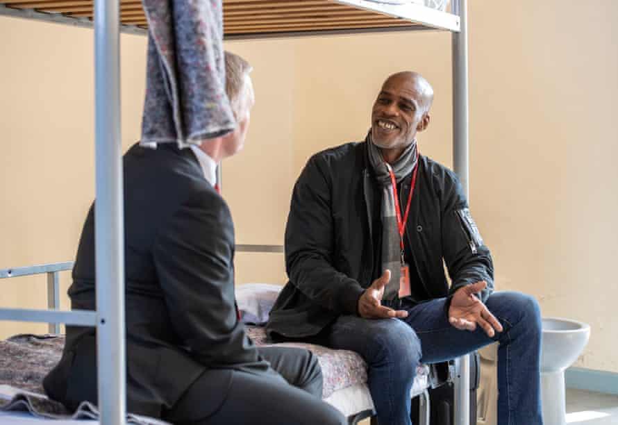 Chris Lewis talks to Portland governor Steve Hodson.