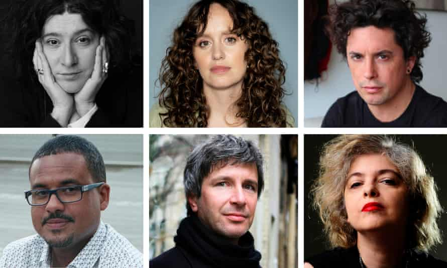 Clockwise from top left: Maria Stepanova, Olga Ravn, Benjamín Labatut, David Diop, Éric Vuillard, Mariana Enríquez.