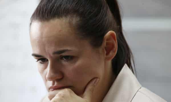 Svetlana Tikhanovskaya giving a press conference after she left the country.
