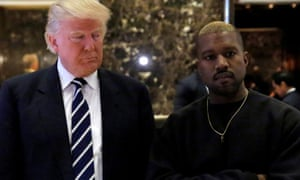 The then US president-elect Donald Trump and Kanye West meet at Trump Tower, New York City, in December 2016. To widespread criticism, West described Trump as 'a brother'.