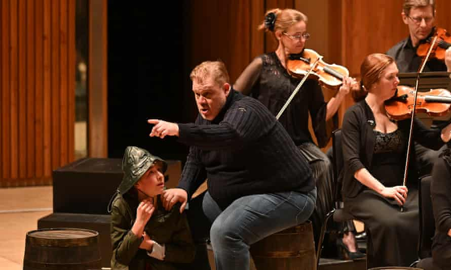 Stuart Skelton as Grimes in a semi-staging of Britten's Peter Grimes at the Royal Festival Hall with the Bergen Philharmonic Orchestra conducted by Edward Gardner.