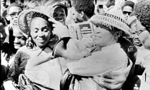 Hugh Masekela with his former wife Miriam Makeba, 1980.
