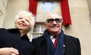Hhelma Schoonmaker and Martin Scorsese unveiling a blue plaque to Michael Powell and Emeric Pressburger in 2014.