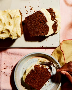Thomasina Miers' super-dark ginger whisky cake with clementine cream cheese icing