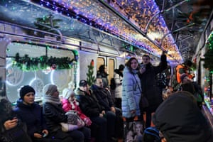Passengers on the Moscow Metro Christmas Train