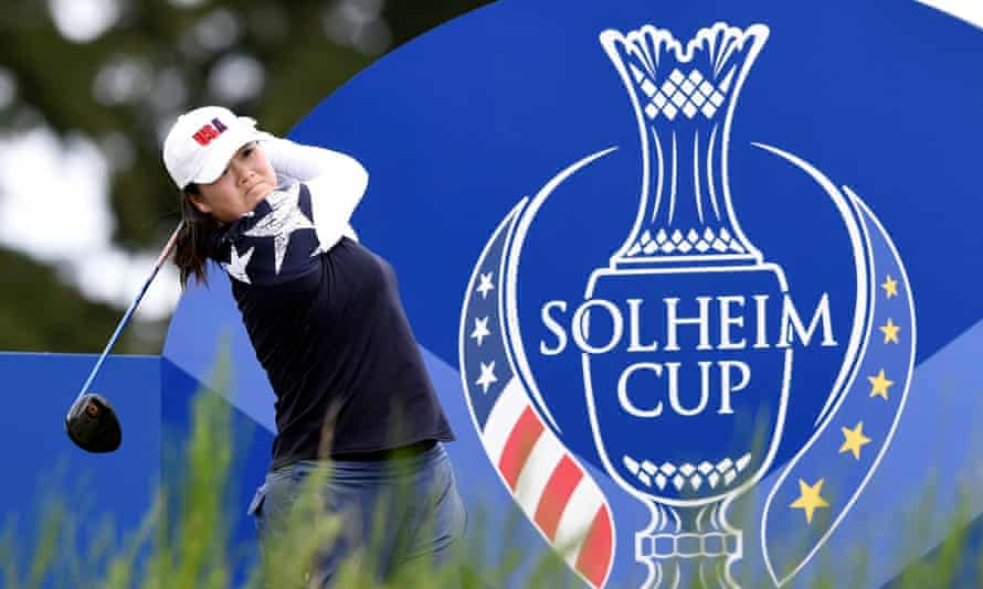 Angel Yin of the United States tees off on the final day of practice for the 2019 Solheim Cup at Gleneagles.