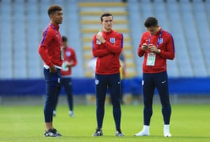 Mason Holgate, Ben Chilwell and Jack Grealish check out the stadium in Kielce.