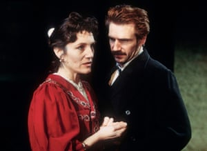 Ralph Fiennes and Harriet Walter in Ivanov at the Almeida theatre, London, 1997. Directed by Jonathan Kent, designed by Tobias Hoheisel with music by Jonathan Dove.