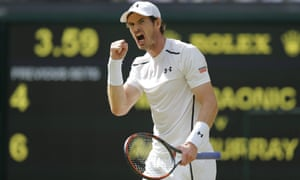 Andy Murray celebrates winning the second set.