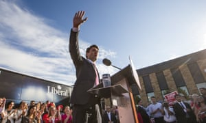 Canadian Liberal leader Justin Trudeau on the campaign trail