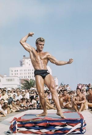 Edmund Holovchik, aka Ed Fury, on the Muscle Beach posing platform, circa 1950