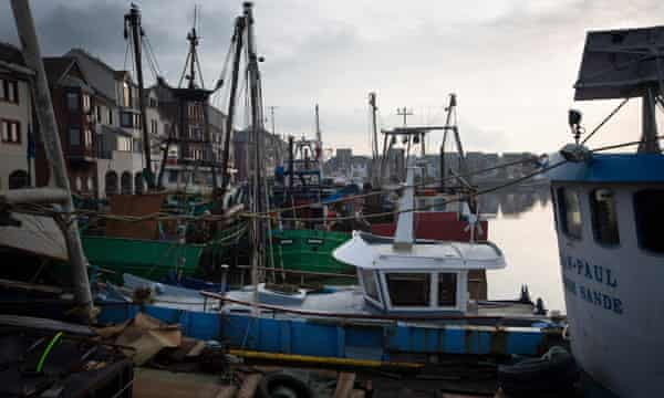 Fishing boats in the harbour at Maryport, Cumbria