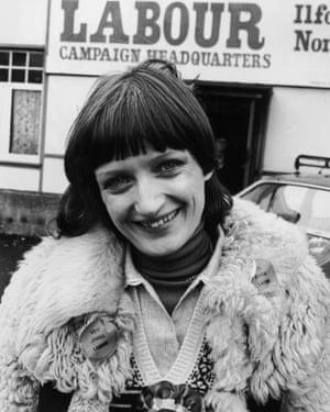 Tessa Jowell outside the Ilford North Labour campaign headquarters, 1978.