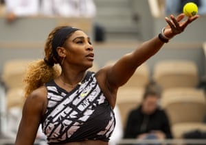 Paris, FranceSerena Williams serves against Russia's Vitalia Diatchenko in the first round of the women's singles, day two of the 2019 French Open at Roland Garros