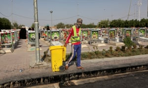 A municipality worker at the cemetery.