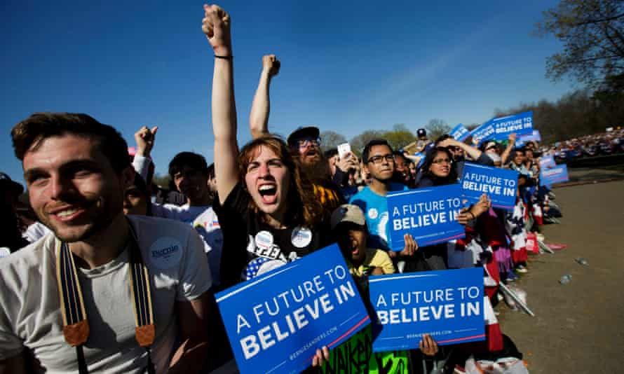 Supporters cheer for Bernie Sanders at a presidential campaign rally in Prospect Park in Brooklyn, New York on 17 April 2016.