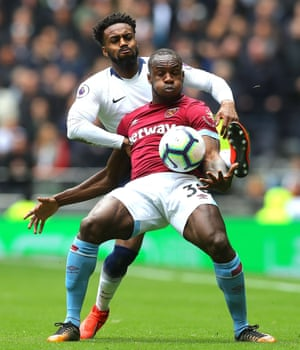 Tottenham's Danny Rose and West Ham's Michail Antonio in action as Spurs lose their first game at their new stadium 1-0. Tottenham have lost 17 games in all competitions this season, their most since 2008-09 (19).