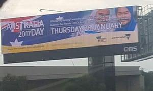 A billboard advertising Australia Day.