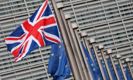 British and EU flags flutter in Brussels