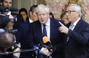 Luxembourg: The European commission president, Jean-Claude Juncker, speaks to the media as he shakes hands with Boris Johnson