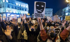 People protest against the imprisonment of Pablo Hasél in Madrid