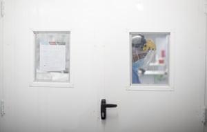 Health worker in sealed room