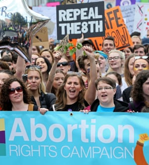 Protesters in Dublin hold up placards at the March for Choice, a rally calling for the legalisation of abortion in Ireland.